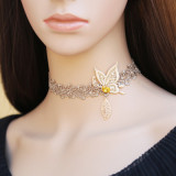 Light Coffee Butterfly Leaf Lolita Choker