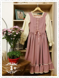 Alpine Maiden~ Vintage Lolita Stripe OP Dress -Pre-order