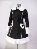 Black Long Winter Lolita Jacket Black & White In Stock