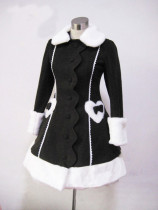 Black Long Winter Lolita Jacket Black & White In Stock