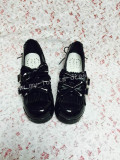 Sweet Dark Grey Lolita Square Shoes with Bowknots