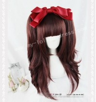 Japanese Girl's Face Framing Straight Wine Lolita Wig with Ponytails