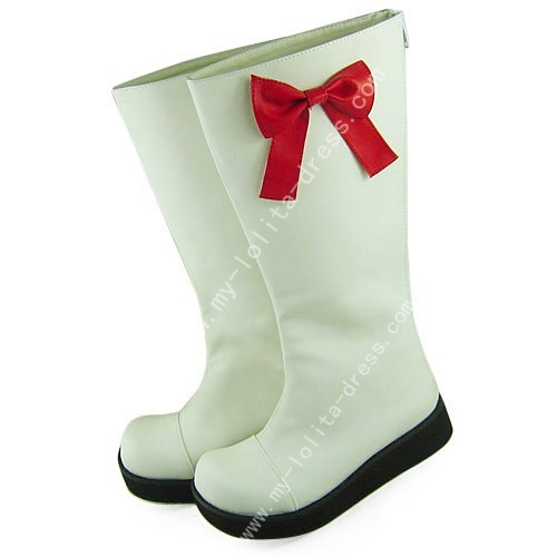 Beautiful White Boots with Red Bows
