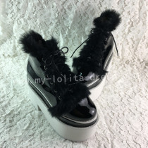 Glossy Black Lolita High Platform with Conny Hair