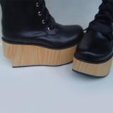 Black Straps Brown Sole Lolita Boots