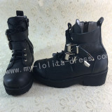 Sweet Matte Black Lolita Winter Boots with Platform