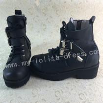 Sweet Matte Black Lolita Winter Boots with Platform