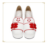 Angelic Imprint- Sweet Double Bows Embroidery Round Toes Qi Lolita High Platform Shoes