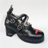 Unique Cross & Straps Lolita Square Heels Shoes