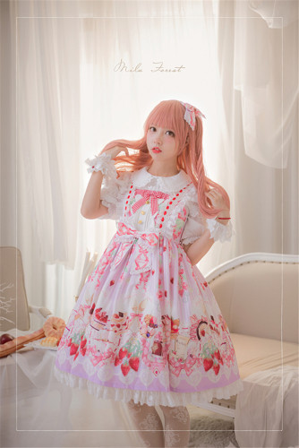 Strawberry Feast- Sweet Lolita JSK Pink Size L - In Stock