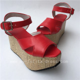 Beautiful Red Matte Clog Lolita High Platform Shoes
