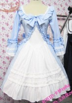 Sweet Skyblue White Lolita OP Dress