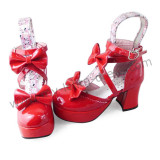 Shiny Red Double Bows Lolita Sandals