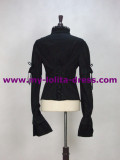Long Removable Sleeves Black Cotton Lace Shirt