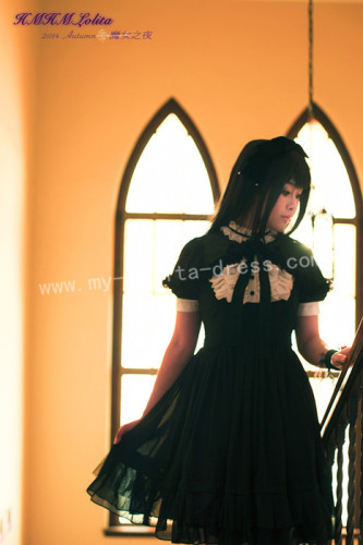 Sweet Chiffon Black White Lolita OP Dress and Mini Cape