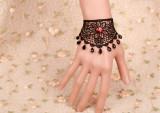 Fabulous Black Lace Floral Lolita Bracelet with Ruby