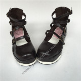 High Platform Matte Coffee Lolita Shoes with White Soles