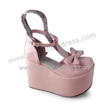 Glossy Pink Bow T-strap Sweet Summer Sandals