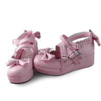 Pink Bows Cross Straps Lolita Girls Shoes