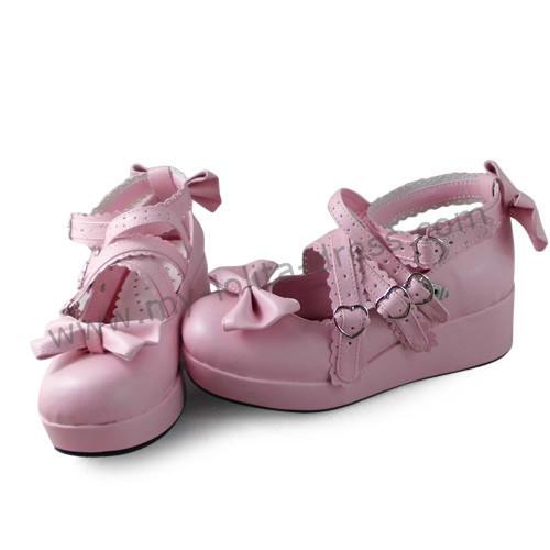 Pink Bows Cross Straps Lolita Girls Shoes