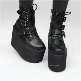 Matte Black Belts Goth Punk Lolita Boots