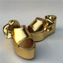 Gold Side Bow Slippery High Platform Lolita Sandals