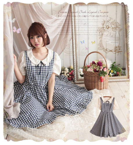 Sweet Gingham Fake Two-pieces Dress