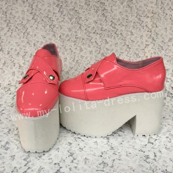 Sweet Glossy Watermelon Red Lolita Heels High Platform
