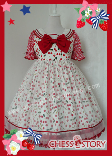 Chess Story Sweet Ice Cherry Lolita JSK and Shirt Set