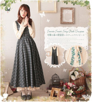 Mori Girl~ Vingtage Gingham Lolita Long Sleeves OP