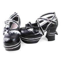 White Black Bows Trim Lolita Shoes