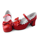 Red Lolita Shoes White Trim and Bows