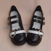 Black White Middle Heel Lolita Shoes