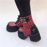 Gothic Punk Red Tartan Cross Lolita Boots