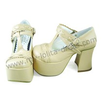 Sweet Cream T-straps Lolita Shoes