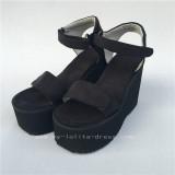 High Platform Black Velvet Lolita Sandals