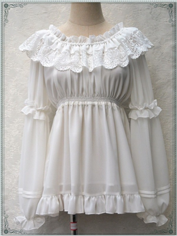Sweet Lace Chiffon Long Sleeves Round Collar Lolita Blouse White Average