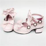 Sweet Bows Belts Square Heels Lolita Shoes