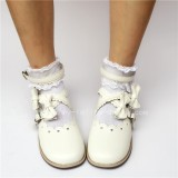 Sweet White Lolita Flats Shoes