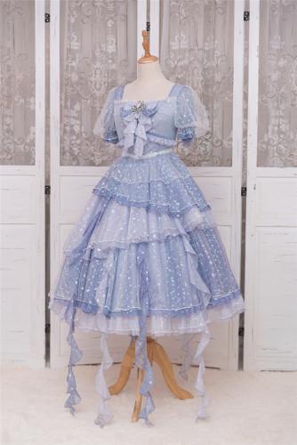 Fantastic Wind ~Deep-sea Maiden~ Kirakira Chiffon Stars Lolita OP -Ready Made