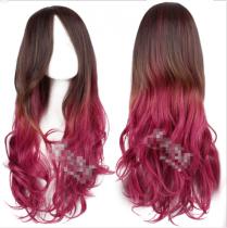 Lady's Sweet Brown Wine Long Curls Lolita Wig