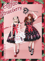 Straight Bear ~Strawberry Coffin Lolita Jumper-IN Stock