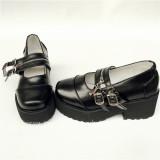 Black Matte HIgh Platform Lolita Shoes with Zipper Upper