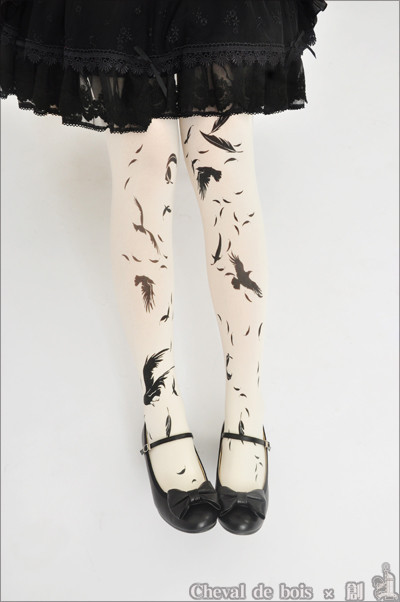 Cheval de Bois ***Shadow of Sparrow*** Lolita Tights -In Stock