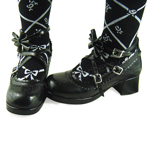Black Side Bow Lolita Shoes