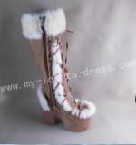 Sweet Brown White Lolita Winter Boots O