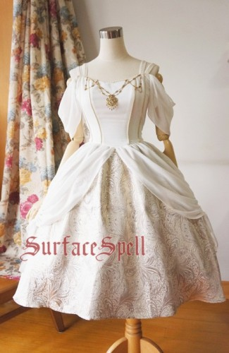 Surface Spell Gothic White Night Draped Chiffon OP White Silver Camouflage Size M - In Stock