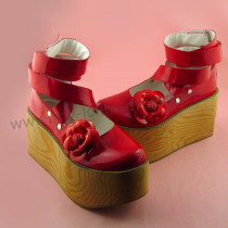 Shiny Red Flowers Lolita Shoes