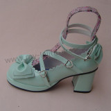 Unicolor Bow Lolita Shoes Square Heels Tea Party Shoes
