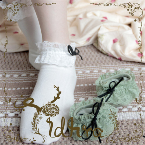 Yidhra  -Forest City- Cotton Lolita Ankle Socks - In Stock
